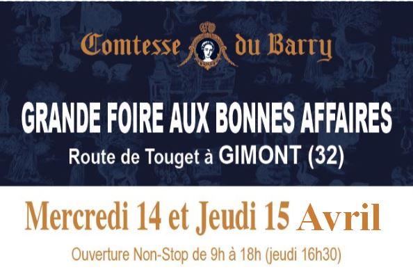 Notre prochaine vente :  FOIRE AUX BONNES AFFAIRES Mercredi 14 et Jeudi 15 avril, sur le parking du site Comtesse du Barry à GimontMMERAIE-SUR-SEVRE
